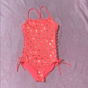 Justice Palm Tree Pink One Piece Swimsuit Size 14